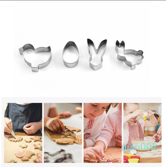 4pcs/set Mini Stainless Steel Easter Cookie Cutters 3D Cake Cookie Mold Fondant Cutter DIY party Baking Tools FFA3707