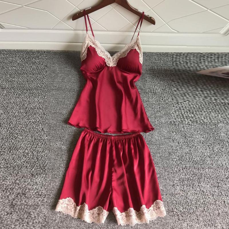 2020 establece atractivo de las mujeres pijama de dormir Verano pijama de seda de la correa de los pantalones cortos ropa de dormir Casual Inicio del sueño Ropa Nueva LD