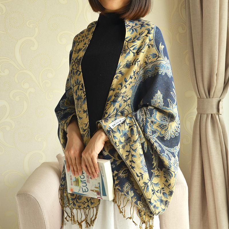 2020 cotone jacquard di seta dorata e lino scialle stile etnico nappe di spessore per tenere in caldo inverno sciarpa sciarpe moda di alta qualità per le donne