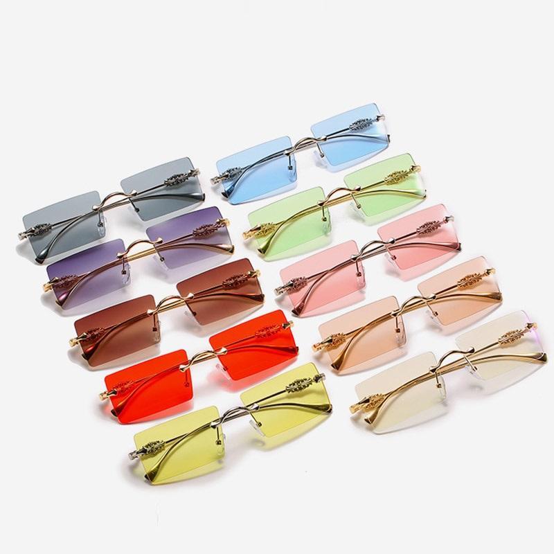 Mode für Party Dekorative Kleine Gläser Shades Dame Frau Sonnenbrille Luxus Sun Square Randlose Frauen Marke Brille UV400 KJGPL