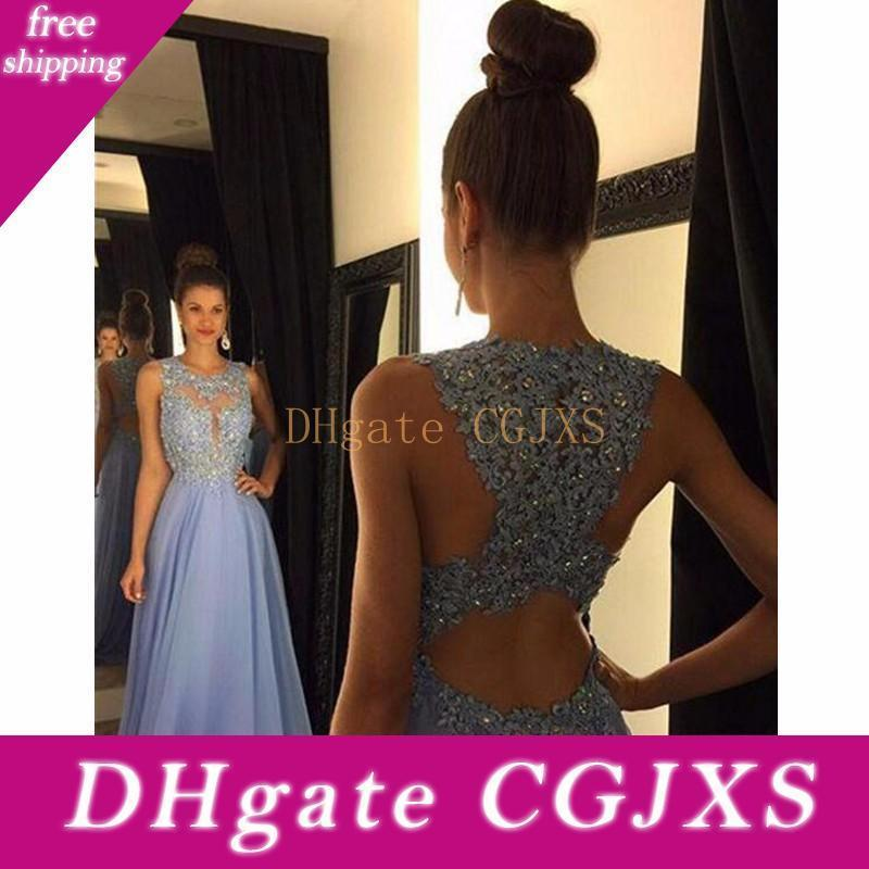 Bridesmaid Dresses 2017 Cheap Long For Weddings Lilac Chiffon Jewel Neck Lace Appliques Beaded Plus Size Open Back Formal Maid Of Honor Gown
