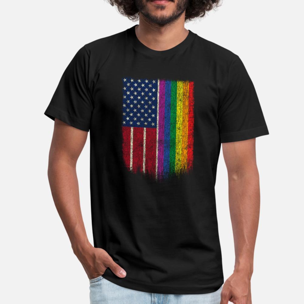 Camicia nuovo stile della molla naturale americano LGBT bandiera maglietta LGBTQ Gay Pride shirt uomini della maglietta Personalizza brevi del O Collo Lettera luce del sole