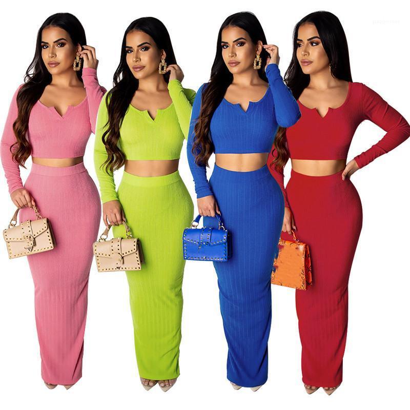 dress المرأة مجموعتين قطعة المرأة الصلبة قطعة لون اثنين موضة اللباس الخامس عنق طويل كم المحاصيل الأعلى سبليت الطابق طول