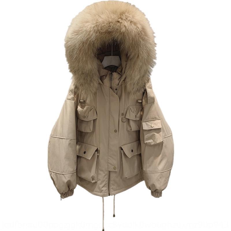 Aşağı kpN8l 2020 kış Yeni Juanzi gerçek büyük kürk yaka Aşağı ceket tulum ceket kadın kısa bel kapsayan küçük erkekler için iş giysileri ceket