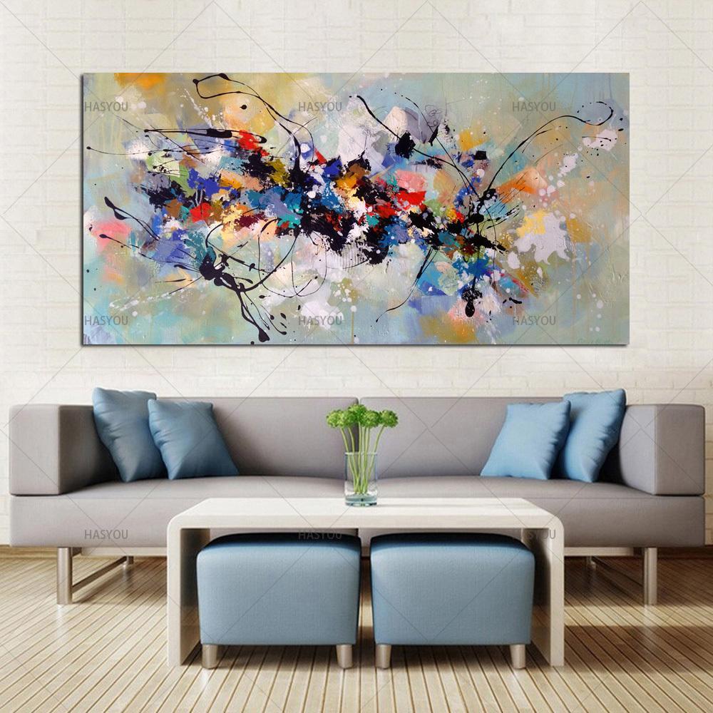 Best New Bild Malerei abstrakte Ölgemälde auf Leinwand 100% handgemachte bunte Kunst auf Leinwand Moderne Kunst für Haus-Wand-Dekor Y200102