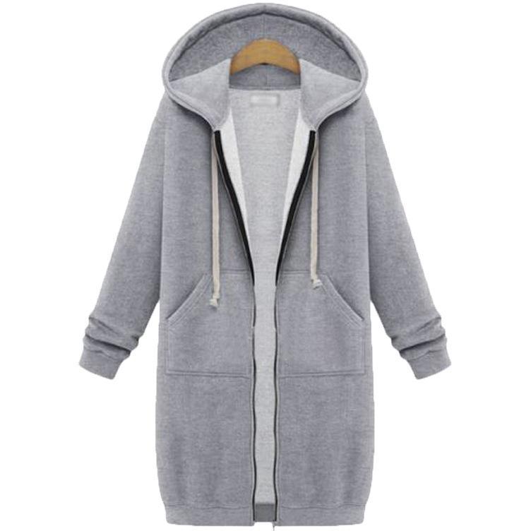 Frauen Zipper Strickjacke Hoodies Langarm-Taschen-lange Sweatshirt Damen fest breit Taillierte Hoodies