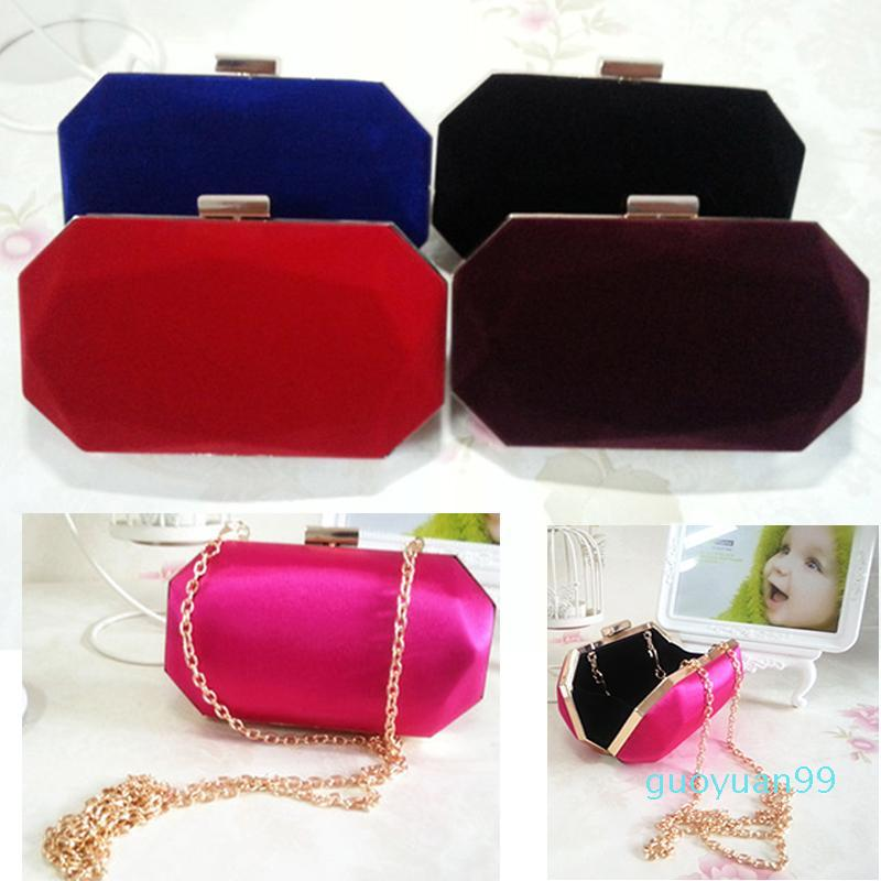 Bolsas de estilo Messenger Messenger Velvet Clutch Metal Vintage Bag Bolso de noche Candy New-Velor - GH1 Gkwog