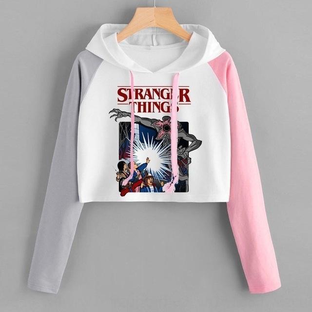Kurz StrangerThings neue Pullover sweaterautumn mit Kapuze langen slee StrangerThings neuen Herbst mit Kapuze langärmlige Farbabmusterung beiläufigem Allgleiches