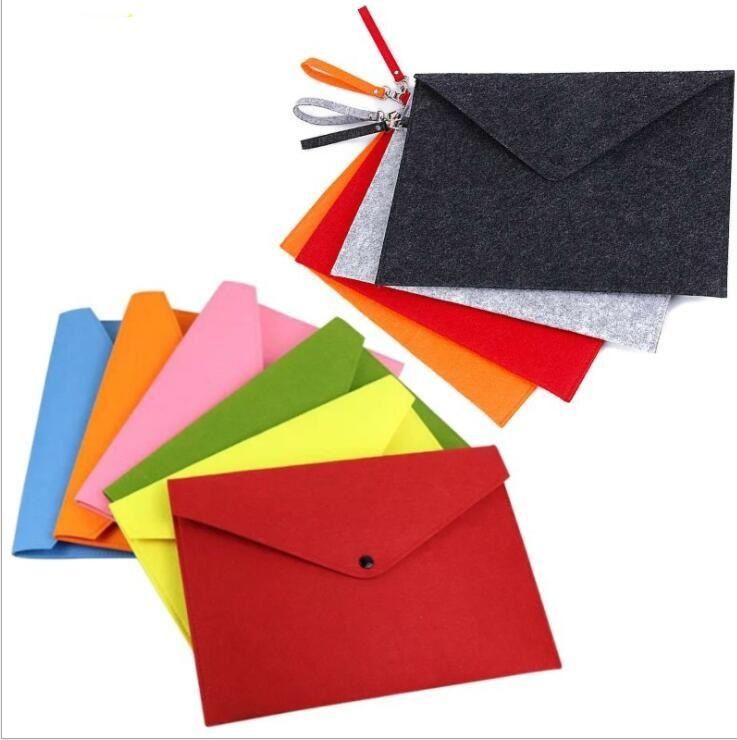 Feltro duráveis sacos A4 saco de arquivo de suporte de documentos de armazenamento pasta saco de escritório material escolar arquivo saco de botão envelope do vintage lápis sacos bolsa