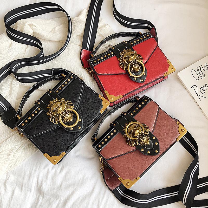 Luxury Bags for Women 2020 Vintage Small Handbags High Quality PU Leather Crossbody Bag Rivet Lion Head Ladies Shoulder Hand Bag