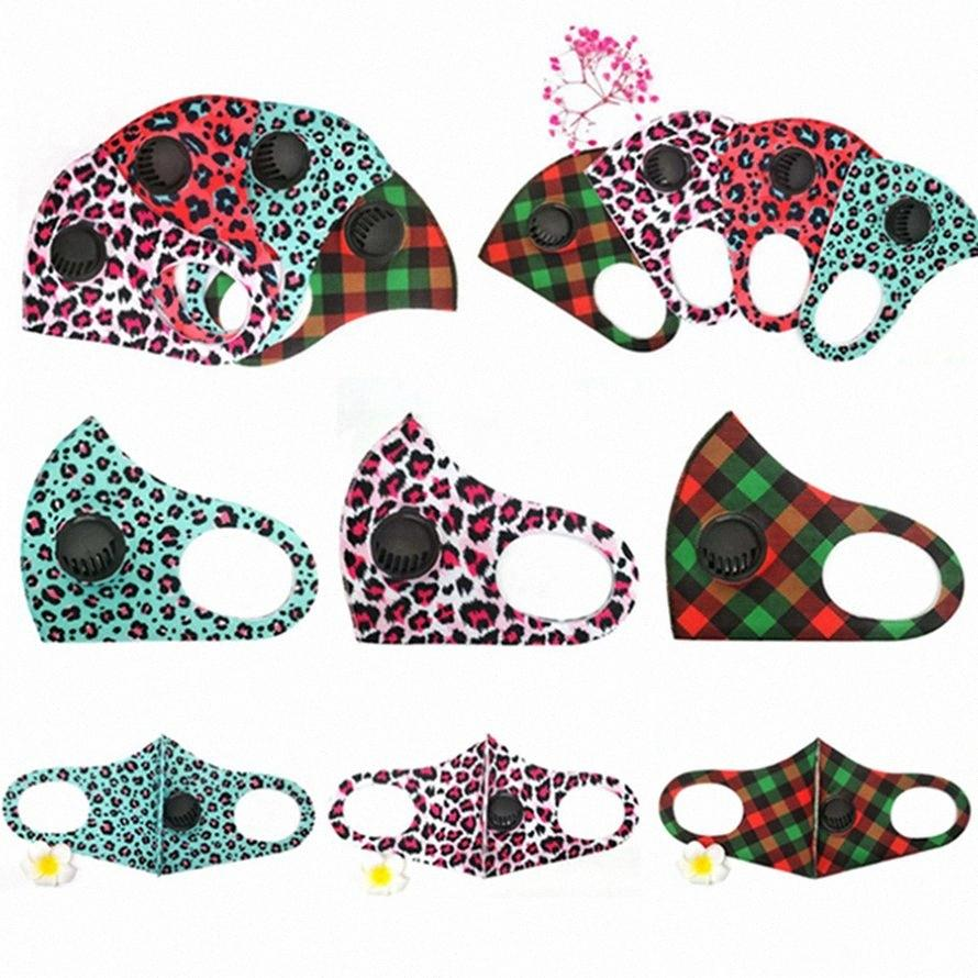 Leopard маска для лица с Breathe Маски Valve Ice шелка моющийся многоразовый против пыли Защитная маска HHA1485 73fJ #