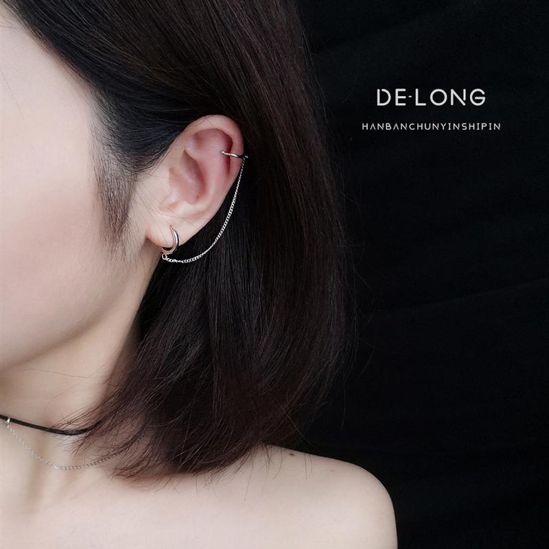 L6DA0 Punk style chain ear clip s925 sterling silver Accessories earringsearrings and earringsearrings chic Korean style personalized fashio