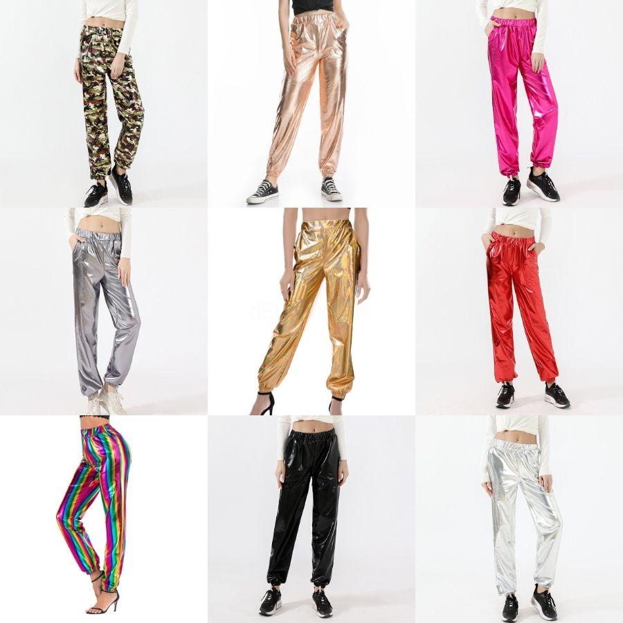 Kadınlar Elastik Bel Artı boyutu Siyah Yeşil Yüksek Bel İlkbahar Sonbahar Yeni Moda Tam Boy Gevşek Pantolon Kadın Yys07 # 809 İçin Geniş Bacak Pantolon