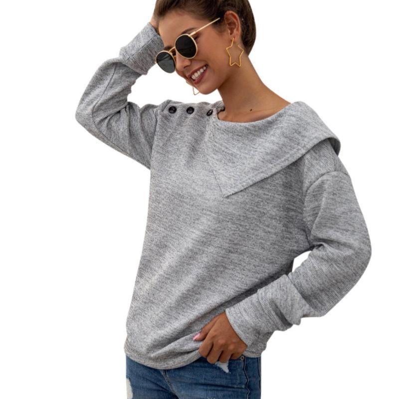 Art und Weise gestrickte Pullover beiläufige Herbst-Winter-Damen Feste Buttons O-Ansatz Bluse Tops Female Frauen Langarm Blusas Jumpers