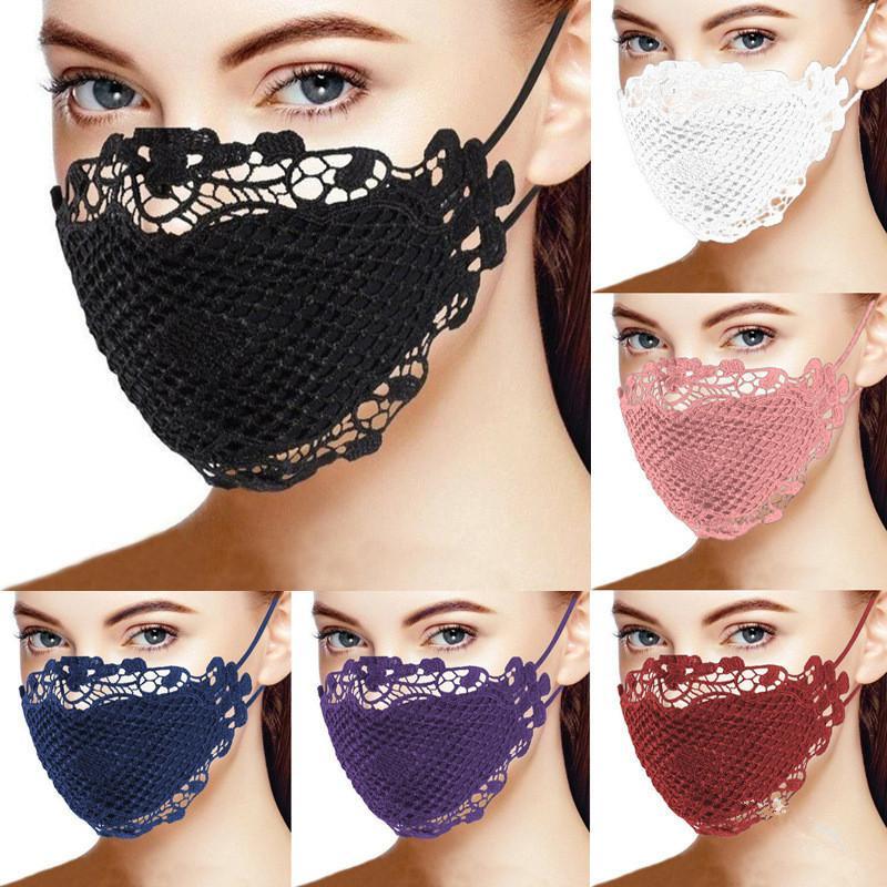Fronte delle donne di modo della mascherina adulti merletto della stampa di stile Covers maschere di protezione antipolvere antivento cotone esterna traspirante lavabile Maschere Regali