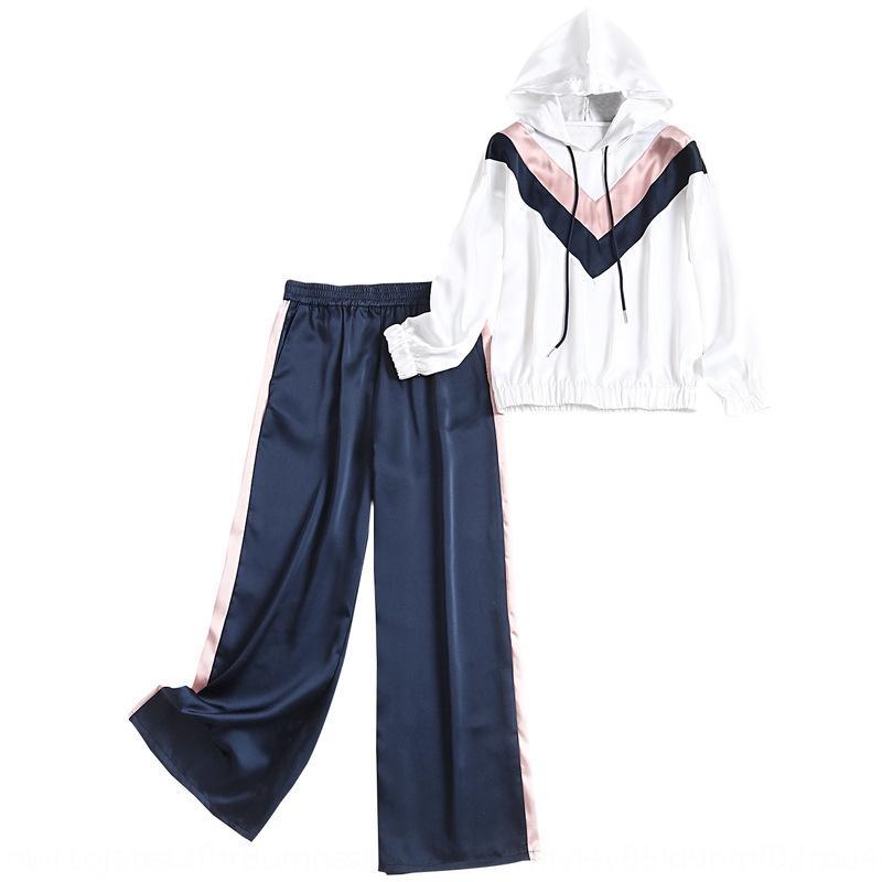 deportes de satén de las mujeres traje de primavera 2020 con cordón capucha pantalones rectos de dos piezas suéter conjunto suéter 13701