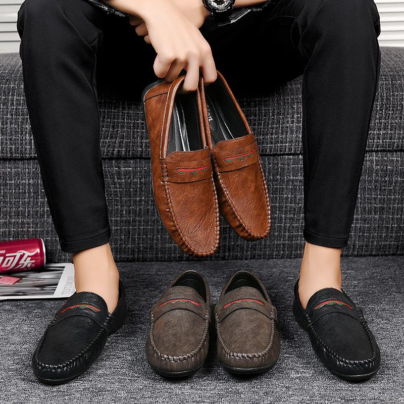 2020 Mens Driving Shoes Casual Men Loafers Leather Man Moccasins Comfy Breathable Male Flats Slip On Boat Shoes