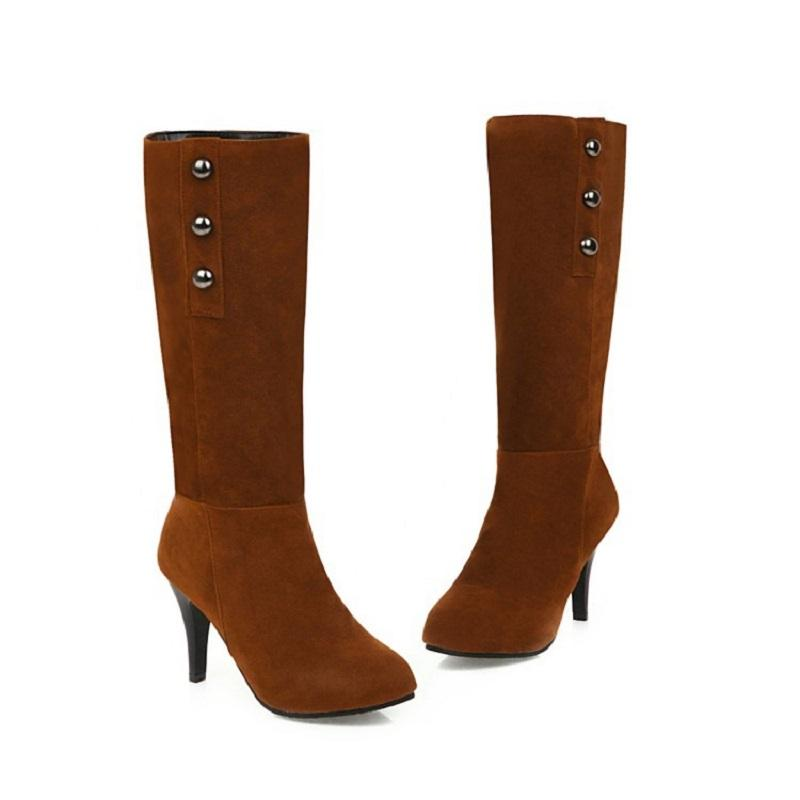 Stivali Botas Mujer Donne Autunno Inverno Sexy Tacchi alti Piattaforma Shoes Shoes Shoes Vintage Rivet Slip on femmina Western Big Size