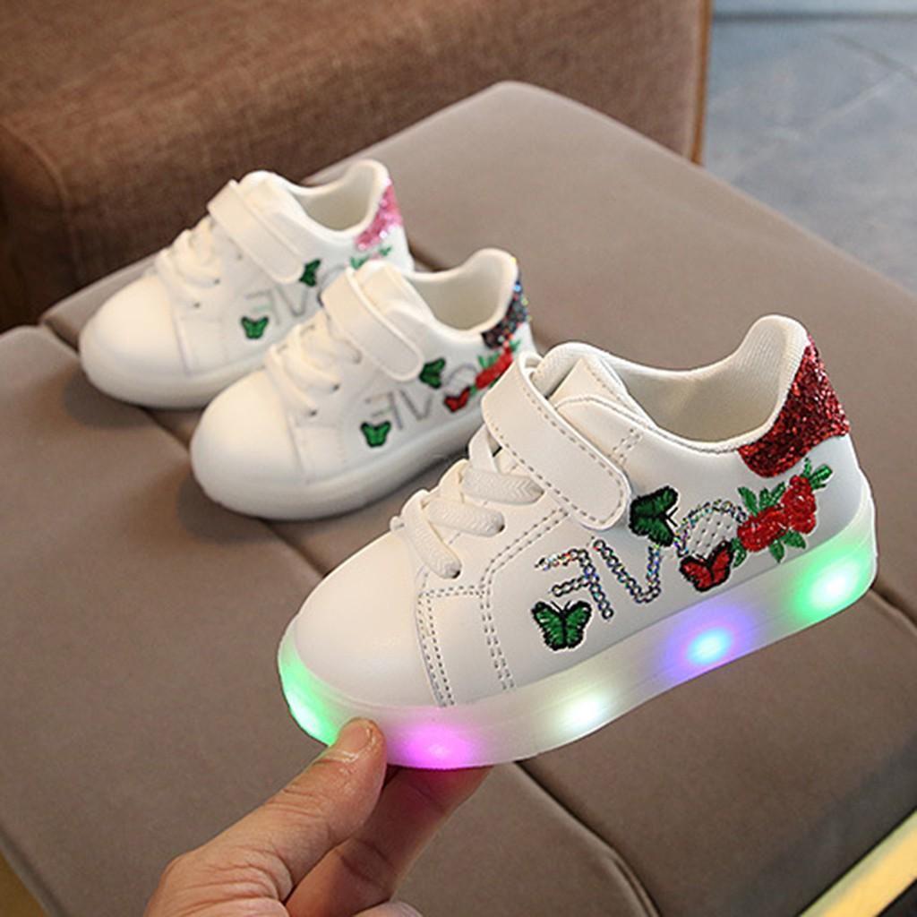Crianças Bebés Meninas Meninos Borboleta Flor Led Light Luminous Sport Shoes