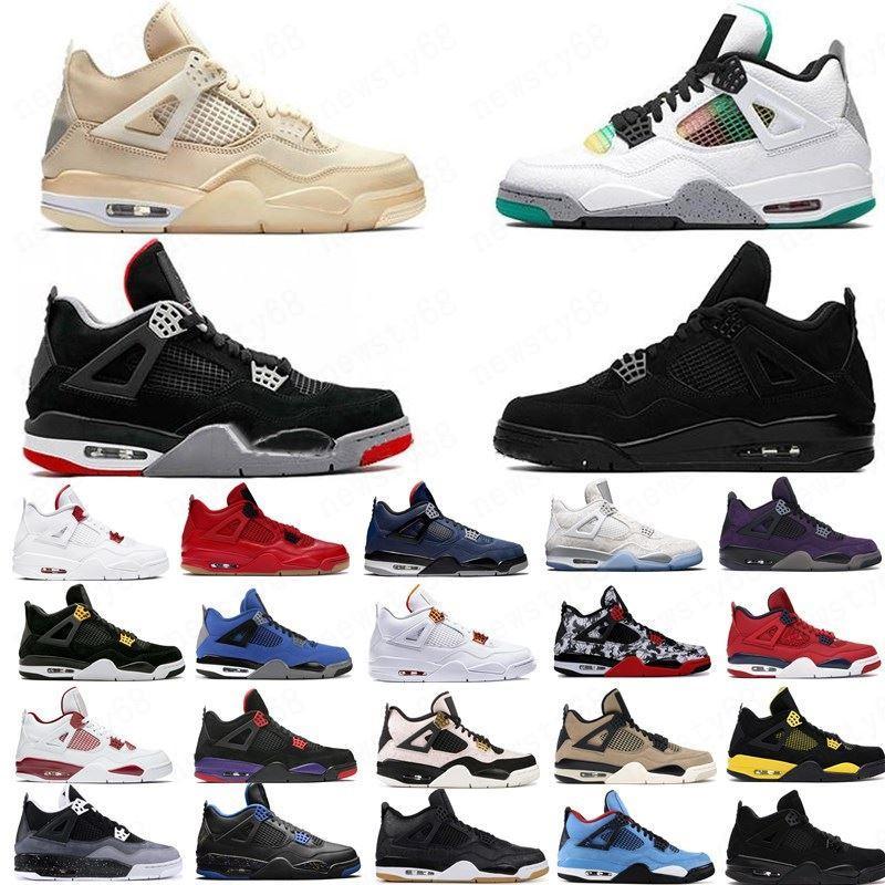 Pas cher Voile Jumpman 4 4s Hommes Chaussures de basket Neon Chat noir Qu'est-ce que l'hiver frais violet gris métallisé Bred Chaussures de course Sport Sneakers