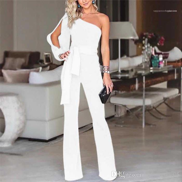Şerit Katı Renk tulum Moda Uzun Kollu Casual Tek Parça bodysuit Kadınlar Tek Omuz Tulumlar Yaz Sashes
