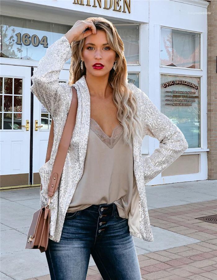 الربيع مثير الصلبة لون البدلة الياقة الحلل الإناث أزياء بالاضافة الى حجم اللون فضفاضة المرأة الترتر OL بذلات عادية مصمم