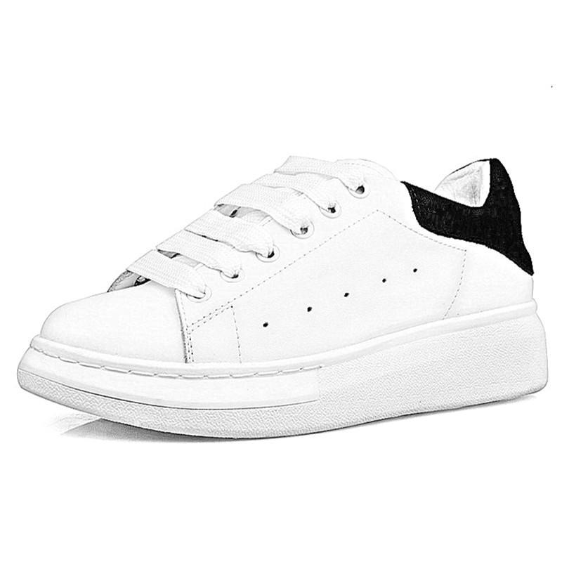Mobbtty Gerçek Deri Platformu Beyaz Düz Sneakers Öğrenci Spor çift ayakkabı dantel-up Kalın alt scarpe Günlük Ayakkabılar
