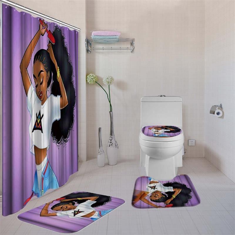 4pcs / set salle de bains avec douche Set rideau de luxe afro-américaine fille de rideau de douche Tapis de bain Ensembles toilettes couverture Tapis de bain Set