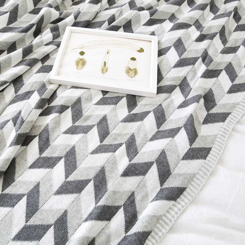 collalily Nordic 100% cobertor sofá algodão Lance moderna geométrica listrado xadrez cinza cama cama macia lance tapete casa branca preta