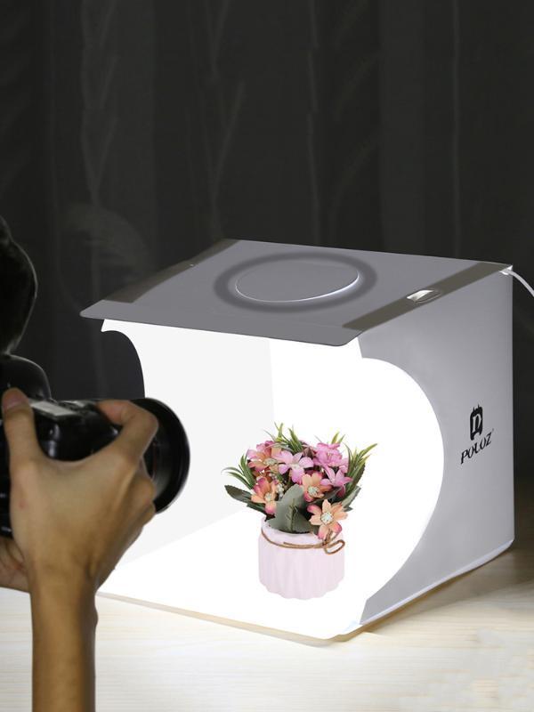 Puluz 20 cm Tri-Renk Işık LED Halka Işık Kutusu Masaüstü Stüdyo Çekim Kutusu Kiti 6 Renkli arka plan Fotografico Çadır Mini Studio