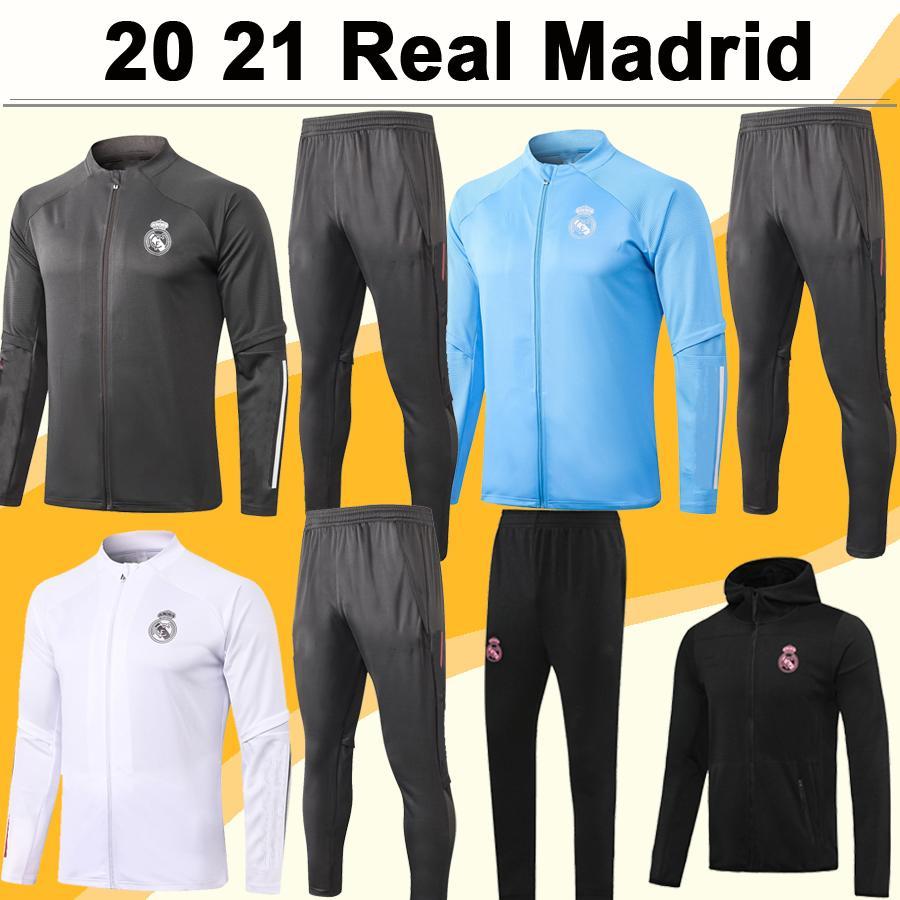 20 21 Real Madrid Полный почтовый индекс куртки рубашки костюм ОПАСНОСТИ MARIANO Кроос Бензема Sapphire Blue Green Black Jacket Набор футбола брюки Top