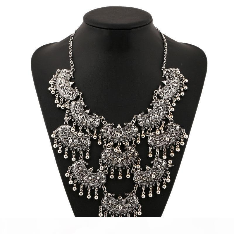 Sfera di modo esagerato nappa dei pendenti delle collane Boho epoca a più strati di luna a mezzaluna del collare di dichiarazione collana per il regalo delle donne della ragazza
