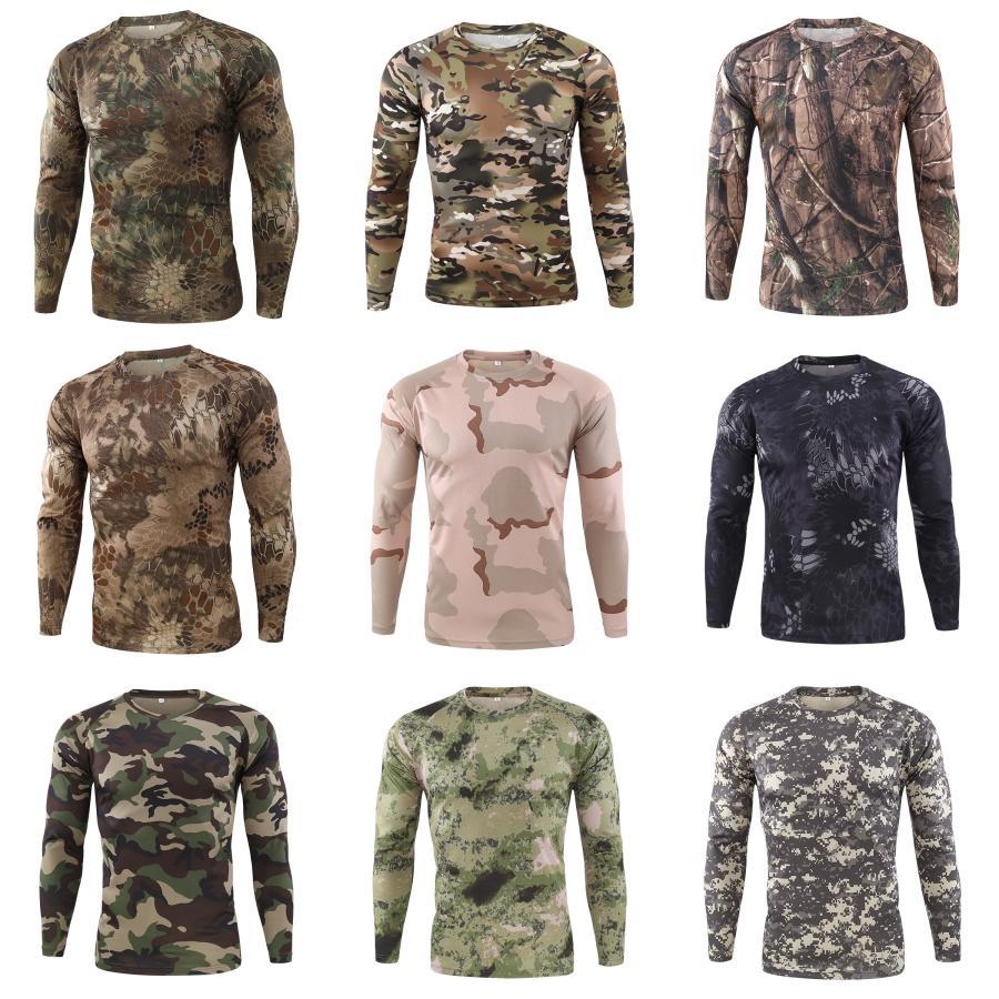 Para hombre de las camisetas de los hombres otoño invierno bolsillos de gran tamaño de manga larga camisetas Hombre fresco de la calle Tops # 382