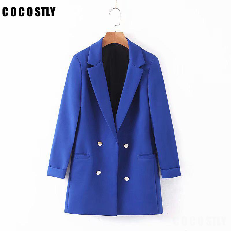 Solide Couleur Bleu Blazer Femmes Mode manches longues femme élégante veste à double boutonnage Blazers Femme Bureau Mesdames Costume