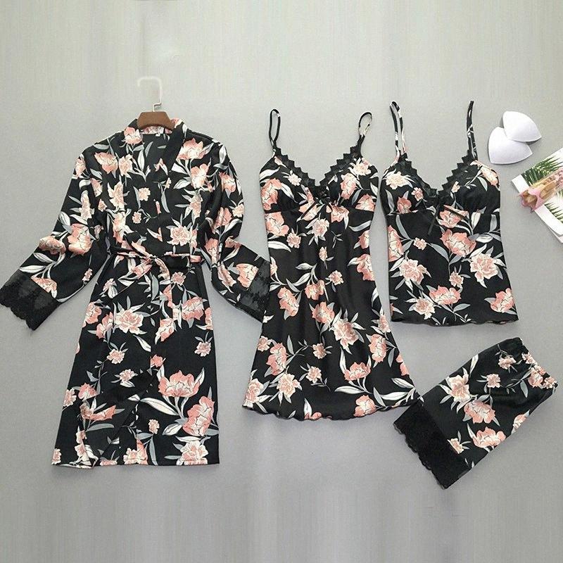 QWEEK 2 peças / set Womens Pijama de cetim Lace Top Sexy Pijamas Mulheres Verão 2019 Pajama Mujer Pijamas de Pijamas Feminino Y20042 99yC #