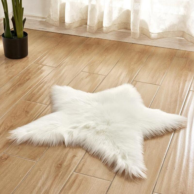 Carpets Five Pointed Star Shape Long Hairy Rug 16 Colors Fur Area Rugs Artificial Wool Sheepskin Baby Room Bedroom Soft Shaggy Carpet