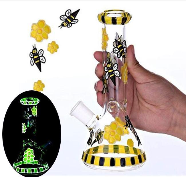 노란 꿀벌 봉수 파이프 유리 버블 러 다운 시스템 퍼크 비커 봉 헤즈 유리 Dab rigs 14mm 조인트와 chicha 물 봉 물 담뱃대