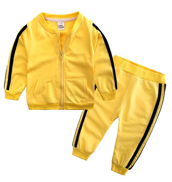 Niños Boys Girls Traje de 2 piezas Sistema de ropa de manga larga Chaquetas de cremallera Capa + Pantalones Pantalones Trajes Casual deportes Otoño Sudaderos LY814