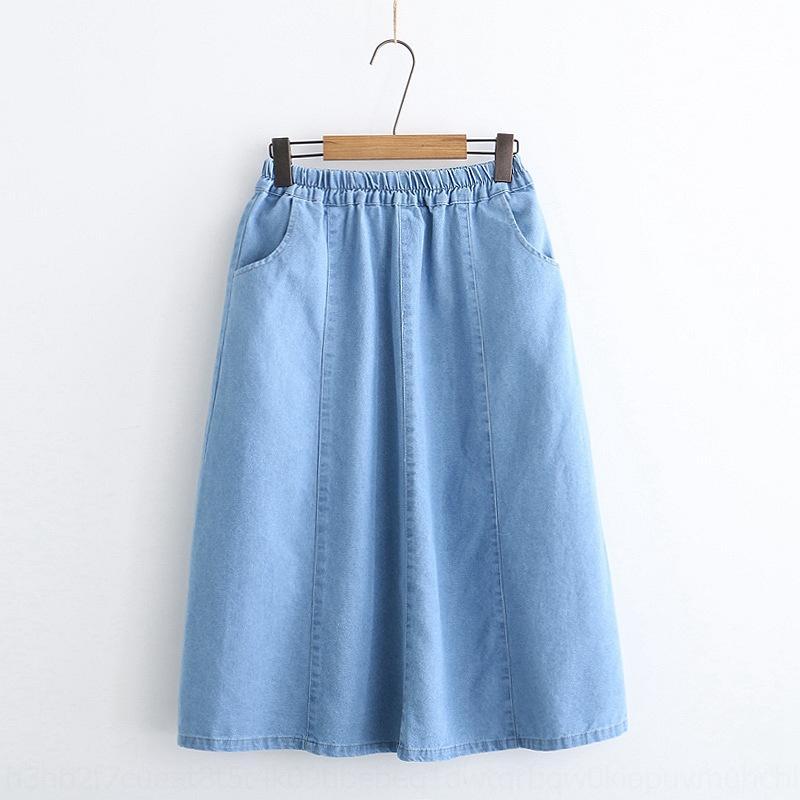 aKDLi printemps lâche nouvelles Hipster artistique féminine Z6ZUc mi-longueur robe en denim couleur unie jupe jupe denim A- robe de ligne S26242