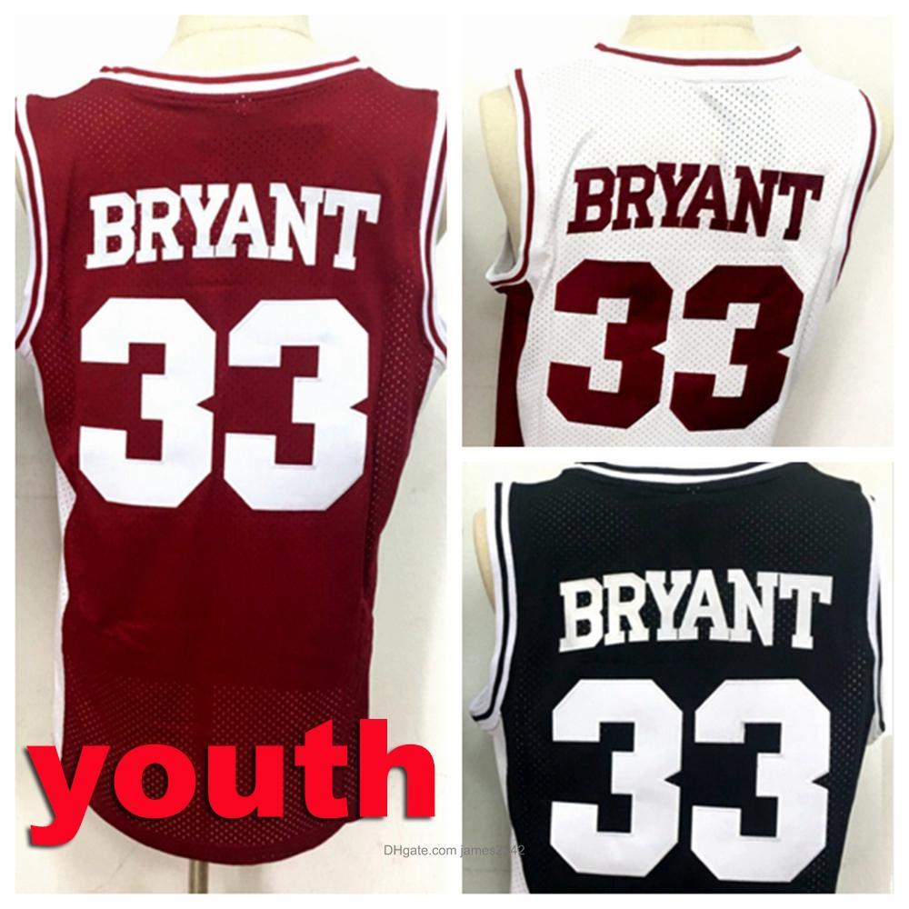 niños juveniles de mejor calidad bordado # 33 BRYANT Baloncesto Negro para hombre Jersey jerseys todos cosido rojo blanco del tamaño S-XL