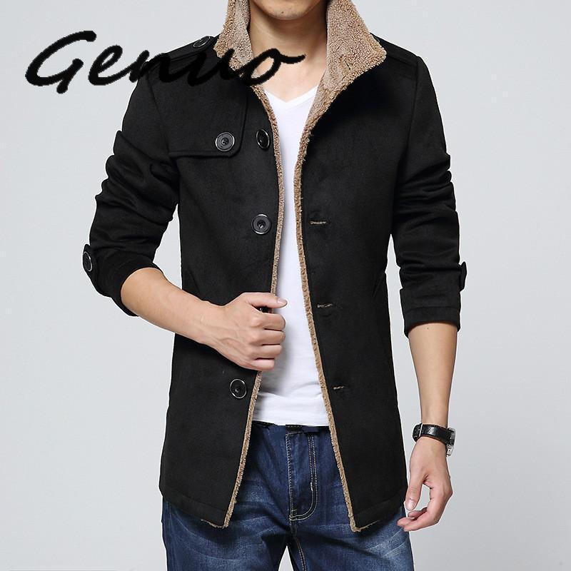 Genuo uomo manica lunga maschile pesante cappotto Slim Plus Dimensione Uomo Nero Cappotto Windbreaker Ragazzi tuta sportiva di lana Miscela Coat 3XL