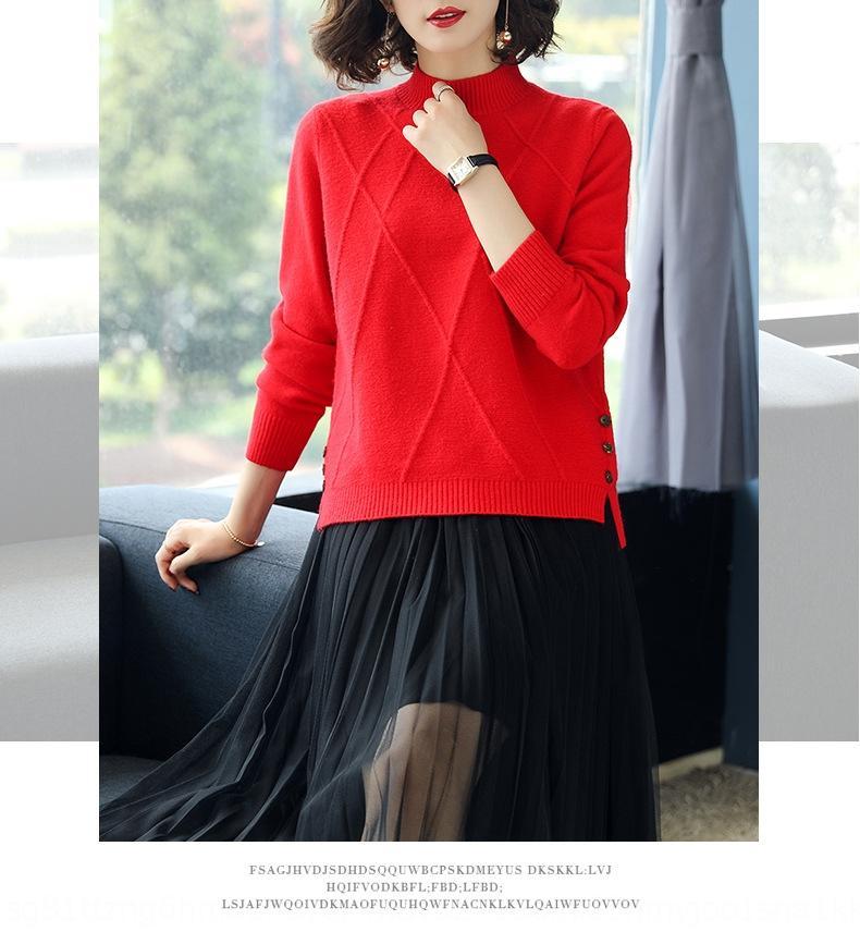 Alta qualidade com núcleo de fio semi-camisola de gola alta camisola de outono pullover pullover das mulheres e 2020 New solta malha camisa bottoming s inverno