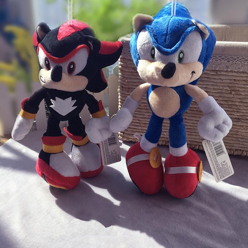 2Pcs/Lot 28cm Sonic Plush Toys Doll Black Blue Shadow Sonic Soft Peluche Toy Children Christmas Gifts Free Shipping LJ200808