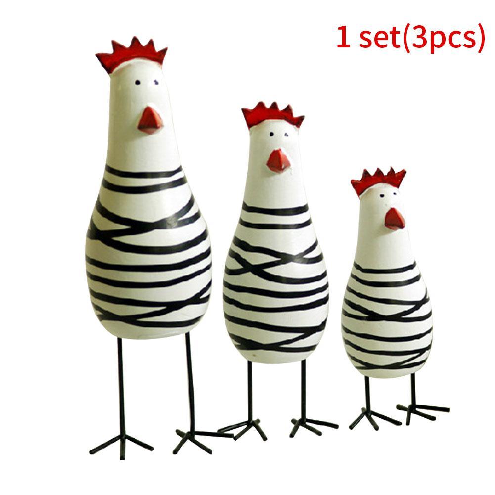 3pcs Miniature Forma Frango pintado Crafts desktop Detalhes Talha de madeira