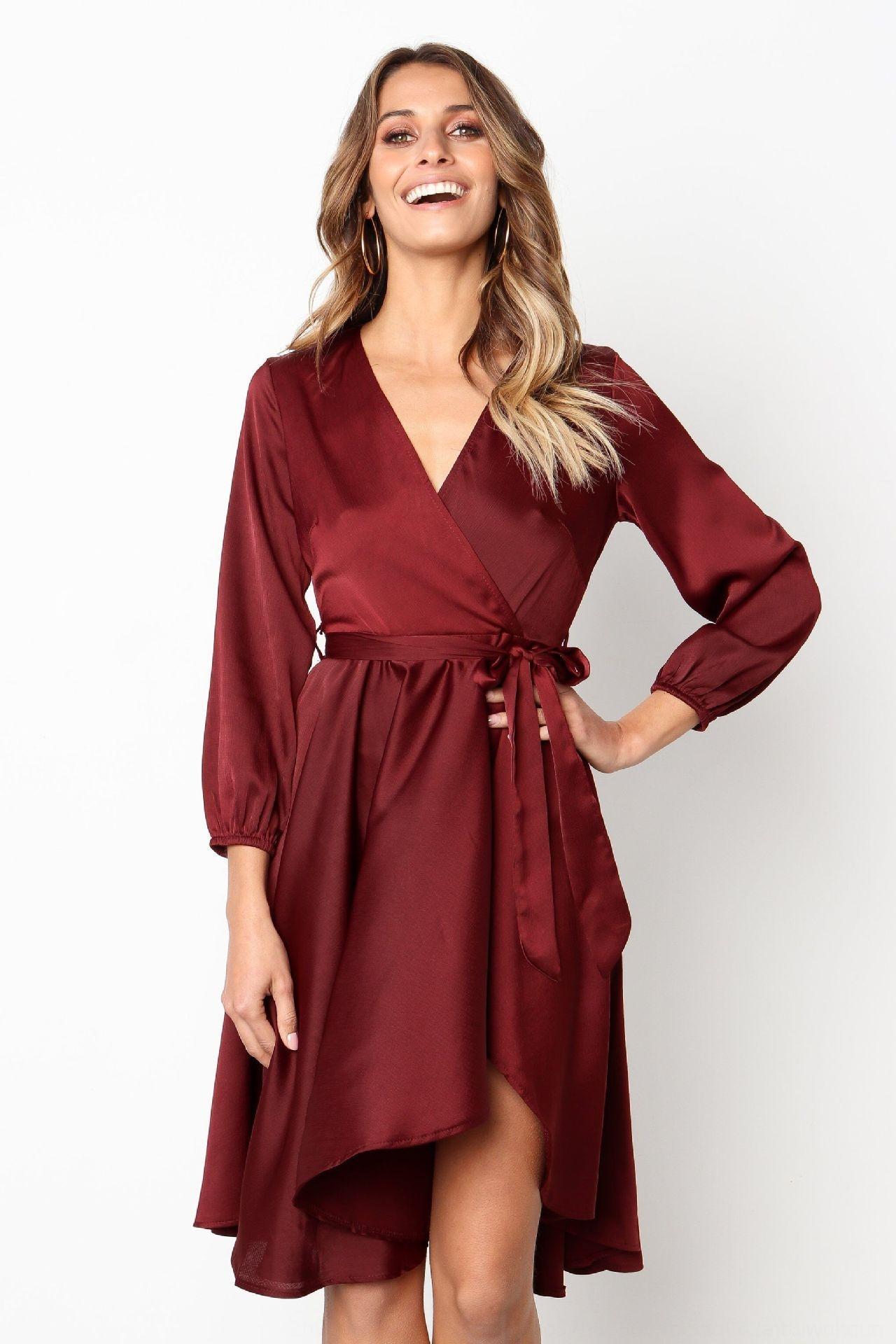Ahkul automne et automne nouvelle robe de version sexy des femmes d'hiver et robe sexy hiver féminin Nouvelle version