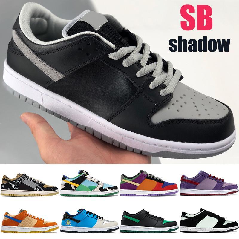 الأزياء SB رجل حذاء عرضي دونك الظل مكتنزة dunky ترافيس سكوتس viotech البرقوق الباندا حمامة الرجال LOW مدربات أحذية رياضية الولايات المتحدة 5،5 حتي 11