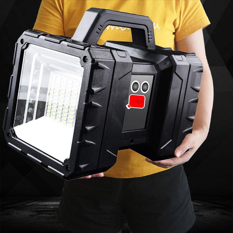 XHP70.2 Süper Parlak Su geçirmez Şarj edilebilir Çift Kafa Projektör El feneri İş Işık Spotlight Floodling 60W LED