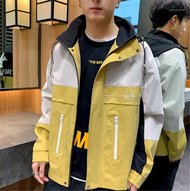 Mens Designer rivestimenti di modo di contrasto di colore a maniche lunghe con cappuccio Giacche 20FW Mens Coats Outerwear Street Style