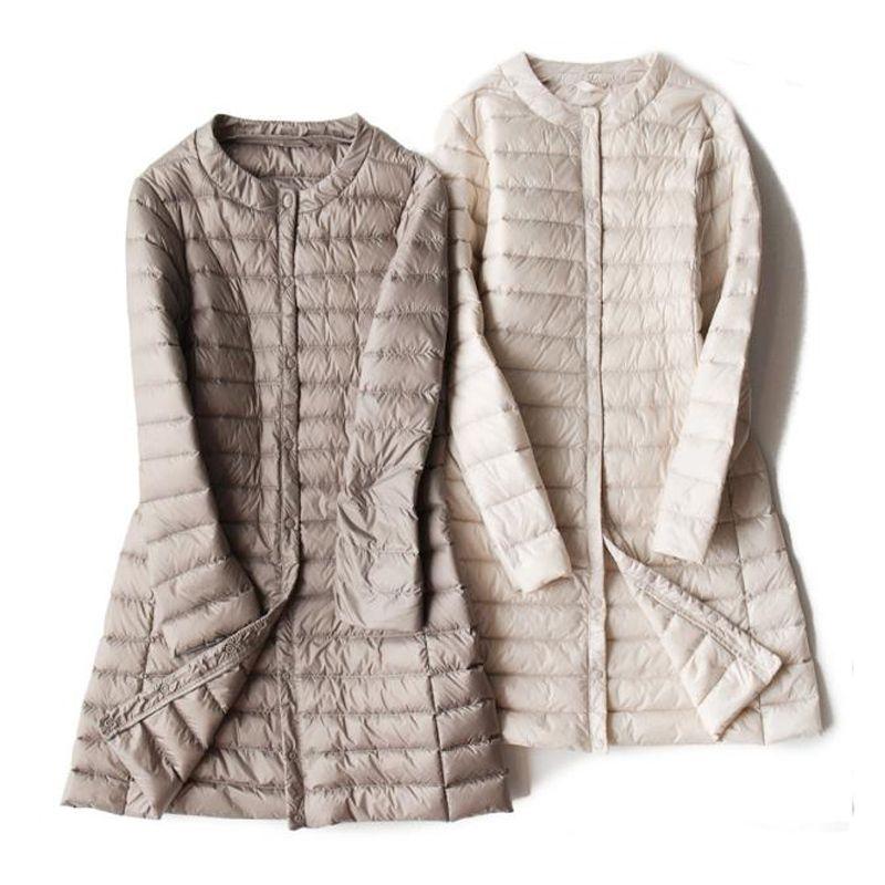 Winter Women Ultra Light Down Jacket White Duck Down Parkas Coat Autumn Female Solid Warm Slim Thin Long Jacket Outwear RH1439 T200820
