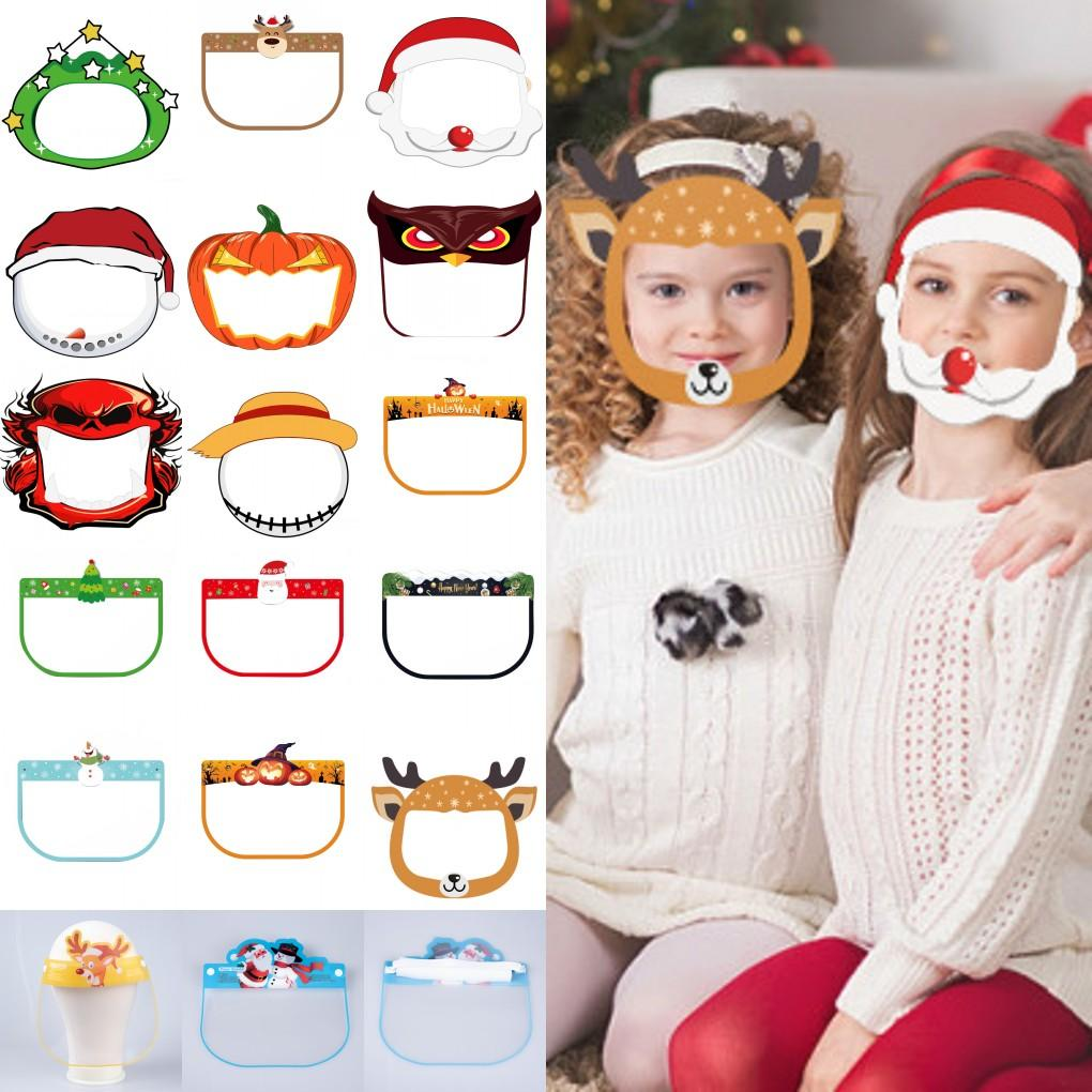 DHL Ship Anime Kids Party Face Shield Masks Clear Cartoon Patterns Christmas Halloween New Year Cosplay Costum Protective FY8121